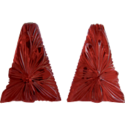 Upcycled Transparent Red Deeply Carved Galalith Geometric Omega GP  2 Inch large Scale Pierced Earrings