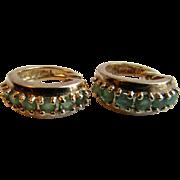 Vintage Genuine Emerald Sterling Silver Gold Plated Pierced Earrings