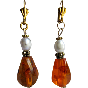 Little Creations Natural Amber with Genuine Cultured Pearl 2 1/2 inch Large Scale Drop GP Leverback Pierced Earring
