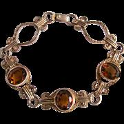 Vintage Citrine Gemstone 10k/1/20GF Signed Amco Empire Style Link Bracelet