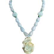 Little Creations Chinese Rose Carved Dyed Jadeite / Dyed Quartz Beads, Carved Amazonite Beads 18kt GP Labradorite Clasp Pendant Necklace