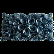 Vintage Carved Galalith Rectangular Teal Blue Curved Floral Motif Brooch