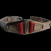 Art Deco Modernist Red Galalith Copper Link Bracelet
