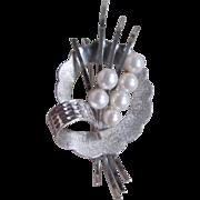 Vintage Silver Akoya A Plus Cultured Pearl Japanese Brooch