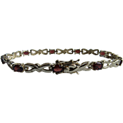Vintage Genuine Almandine Garnet Tennis Sterling Silver Gold Plated Bracelet Double lock Clasp