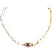 Little Creations 18kt GP Amethyst Cabochon Clasp with Graduated Freshwater Cultured Pearls 18 Inch Necklace