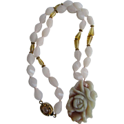 Little Creations 18kt GP Nephrite Jade Carved Rose Pendant on Rose Quartz and Citrine and Moonstone Necklace