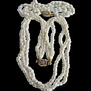 Vintage 18kt GF 3 Strand Freshwater Rice Cultured Pearl Torsade Necklace and Bracelet Set