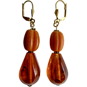Little Creations Natural Amber Carved Pumpkin Beads/ Honey Amber 2 1/2 Inch Large Scale Drop GP Leverback Pierced Earrings