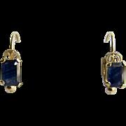 Vintage 14kt Gold Genuine Blue Sapphire Emerald Cut Lever Back Pierced Earrings