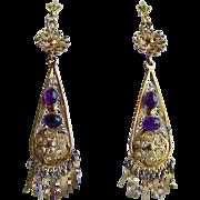 Vintage Filigree Gilt Amethyst Cabochons Drop Pierced Earrings