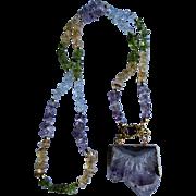 Little Creation 18kt GP Purple Amethyst Geode Druzy Slice Pendant on Topaz, Citrine, Amethyst and Peridot Chip Necklace