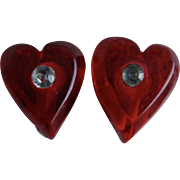 Vintage Red Lucite Heart Rhinestone Earrings with Celluloid Clip Back Earrings