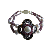 Little Creations GP Quatrefoil Centerpiece with Ruby and Cultured Freshwater Pearls and an Amethyst Cabochon Double Strand Bracelet