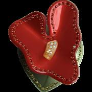 Vintage Celluloid Exotic Anthurium Flower Inlaid Rhinestone Pin
