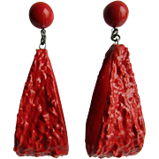 Little Creations Red Lucite Cabochon and Plastic Drops Massive Scale Pierced Earrings