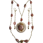 Little Creations 18kt GP Rhodochrosite Cultured Pearl GP Pendant and Rhodochrosite Cultured Pearl Freshwater GP Wired Necklace with Matching Extra Long  Pierced Earrings