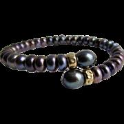 Vintage Peacock Cultured Freshwater Pearl Wrap Memory Wire Bracelet
