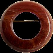 Art Deco Round Hoop Ring Circle Marbled Carmel Bakelite Brooch