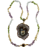 Little Creations 18kt GP Asymmetrical Amethyst Geode Druzy Slice Pendant on Topaz, Citrine, Amethyst and Peridot Chip Necklace