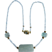 Little Creations 18kt GF Aquamarine Rondelle beads with Three Focal Beads Aquarmarine Necklace