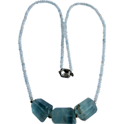Little Creations Sterling Aquamarine Rondelle and Fluorite Crystal Free Form Focal Necklace