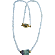 Little Creations 18kt GP Aquamarine and Fluorite Bead Necklace