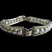 Vintage 12kt GF Signed Van Dell Cultured Pearl Channel Wire Mounted Bracelet
