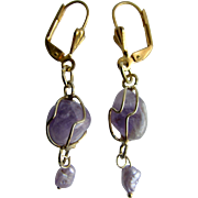 Little Creations GP Amethyst Gem in a Cage with Freshwater Dyed Cultured Pearls Lever Back Pierced Earrings