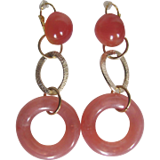 Little Creations Translucent Pink Cabochon and Circle Hoop Rings Pierced Earrings 2 1/2 Inch Huge Scale