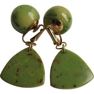 Vintage Green and Yellow Marbled Bakelite Triangle drops and Clip Earrings