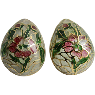Vintage Plique a Jour Domed Stained Glass GP Egg Shape Pierced Earrings