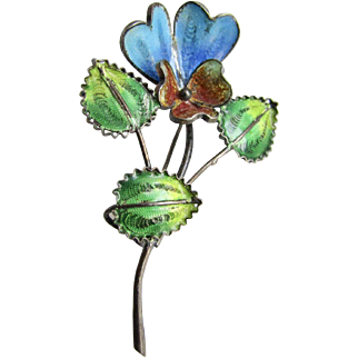 Vintage Filagree Plique a Jour Enamelled  Pansy on Stem with Leaves Silver Brooch