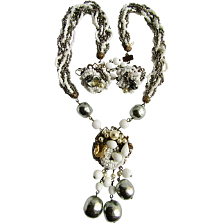 Vintage Hematite/Milk Glass Torsade and Faux Simulated Baroque Pearl Matching Earrings & Necklace Demi Parure
