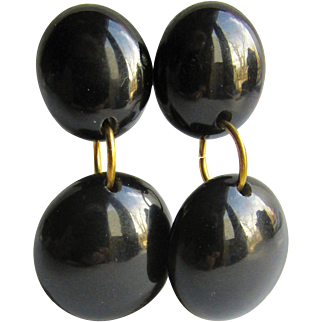 Vintage Black Galalith Polished Clip Non Pierced Earrings