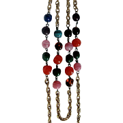 Art Glass on Brass  Chain Multi Strand Necklace