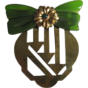 Vintage Modernist Green Bakelite bow on Brass Brooch