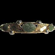 Vintage 12kt/1/20t Gold Filled Victorian Revival Style Clamper Nephrite Jade Bracelet