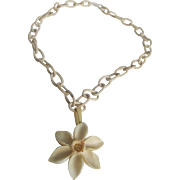 Vintage Carved & Painted Bone Lovely Little Flower on celluloid chain