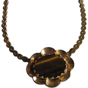 Vintage Signed Hobe Tiger Eye Pendant  Necklace