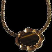 Vintage Signed Hobe Tiger Eye Pendant  Necklace