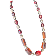 Art DECO Cherry Amber Bakelite Prystal Necklace with Facetted & Rod shaped beads