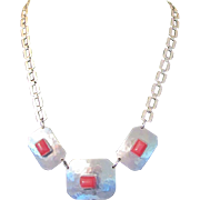 Art Deco MODERNIST Hammered Chrome & Red Galalith Necklace
