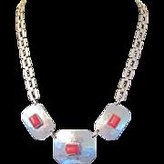 Art Deco MODERNIST Hammered Chrome & Red Galalith Necklace -- Jakob Bengel