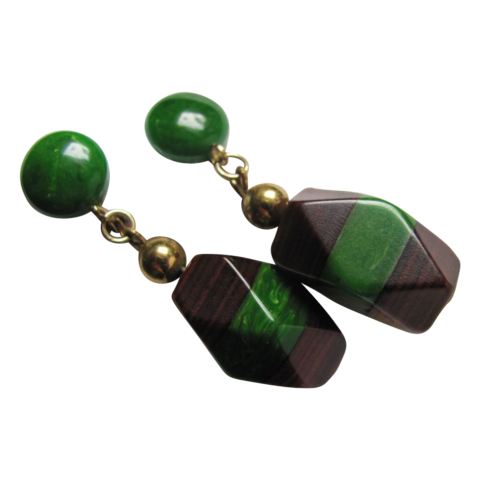 Art Deco Bakelite and Wood Dangling Earrings