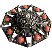 Victorian Cannetille Made In Italy Silver with Genuine Salmon Coral Cabochons Brooch