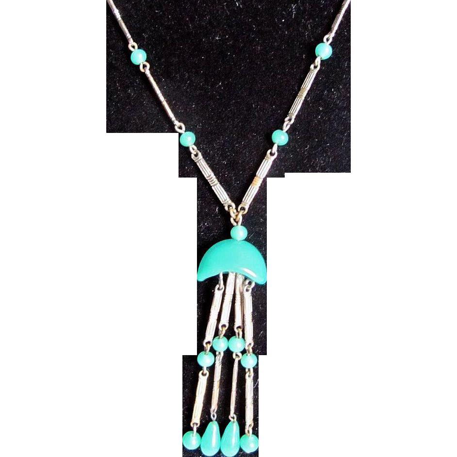 Art  Deco Jakob Bengel Green Glass Chrome Lavaliere Necklace