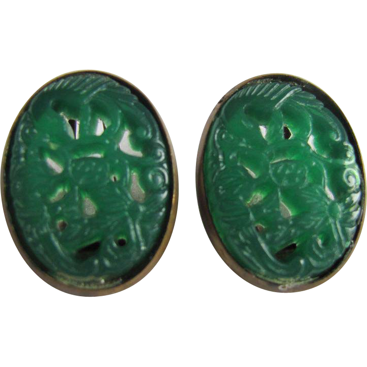 Antique Edwardian Molded Celluloid Faux Pierced Jade Brass frame Clip earrings