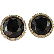Vintage Large HOBE Facetted Black Earrings Halo Style with rhinestones