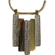 Modernist LANVIN signed 22kt Gold Plated and Channel set rhinestone Pendant